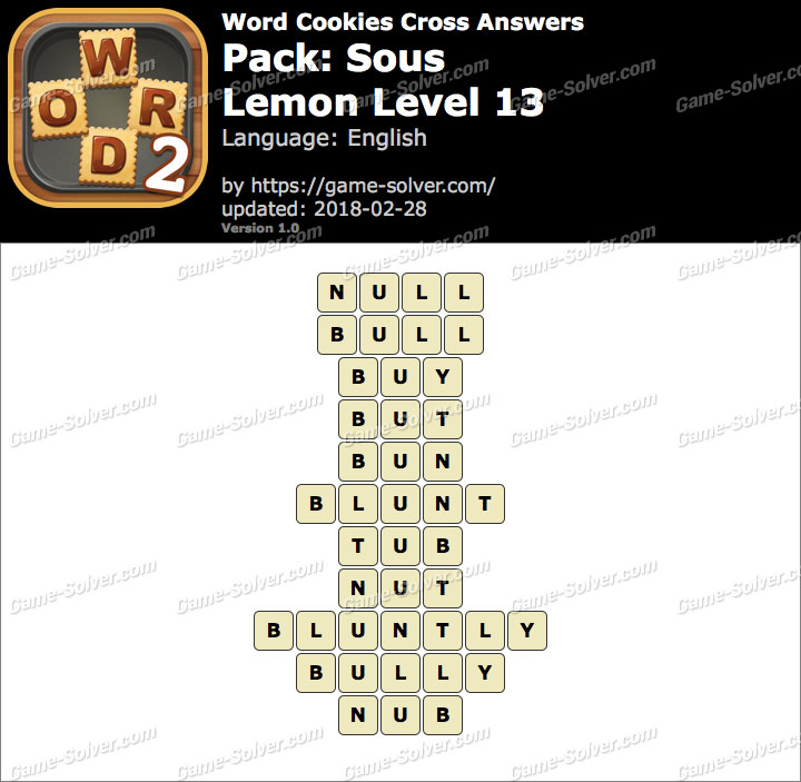 Word Cookies Cross Sous-Lemon Level 13 Answers