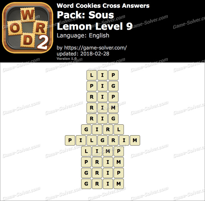 Word Cookies Cross Sous-Lemon Level 9 Answers