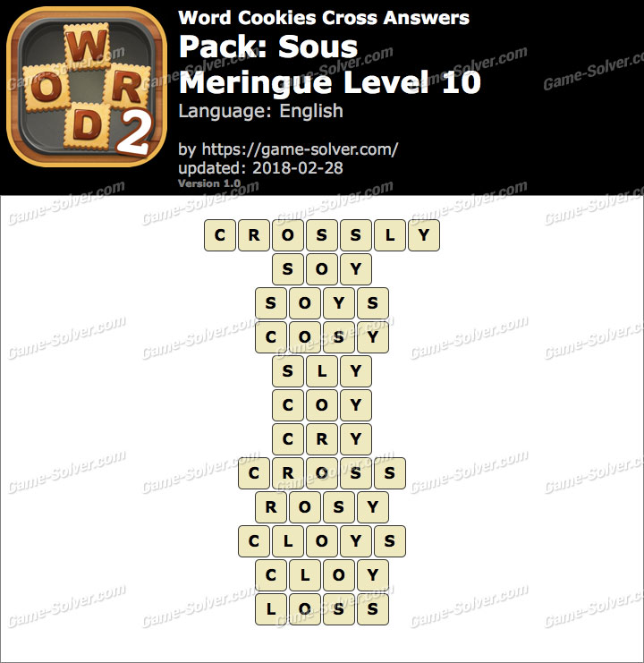 Word Cookies Cross Sous-Meringue Level 10 Answers