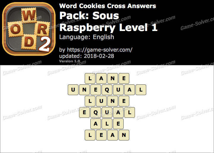 Word Cookies Cross Sous-Raspberry Level 1 Answers