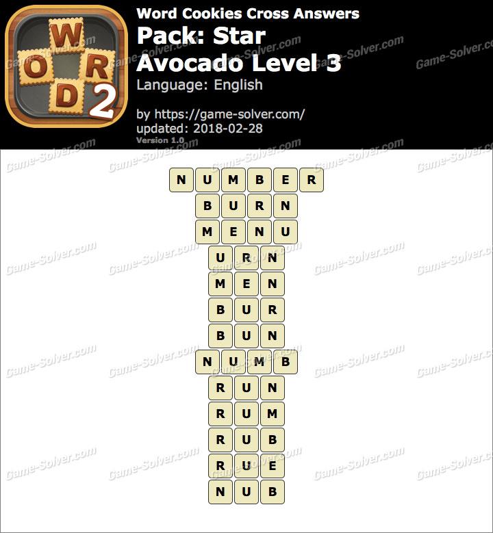 Word Cookies Cross Star-Avocado Level 3 Answers