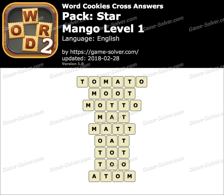 Word Cookies Cross Star-Mango Level 1 Answers