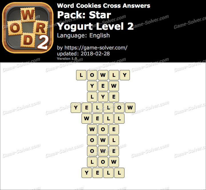 Word Cookies Cross Star-Yogurt Level 2 Answers
