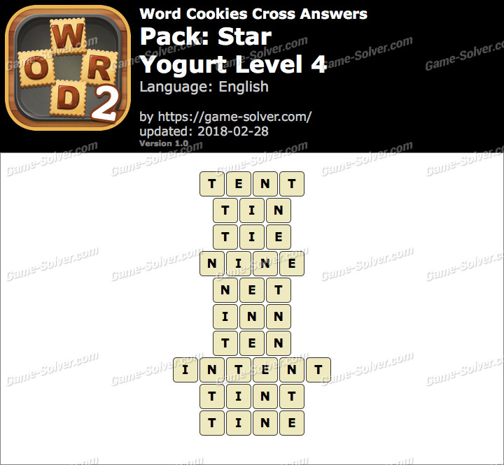 Word Cookies Cross Star-Yogurt Level 4 Answers