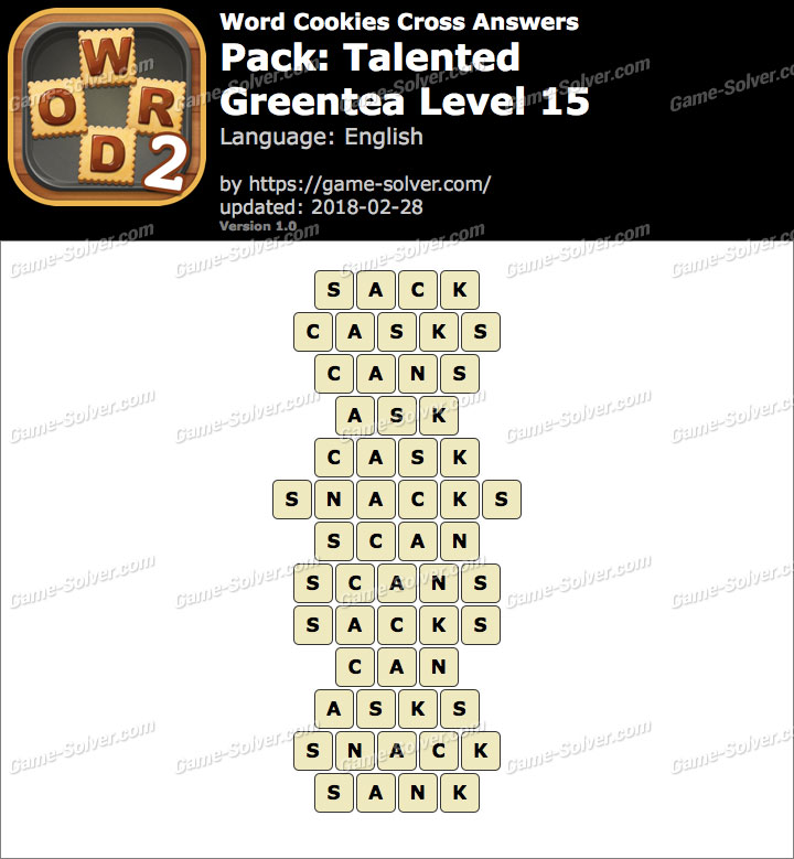 Word Cookies Cross Talented-Greentea Level 15 Answers