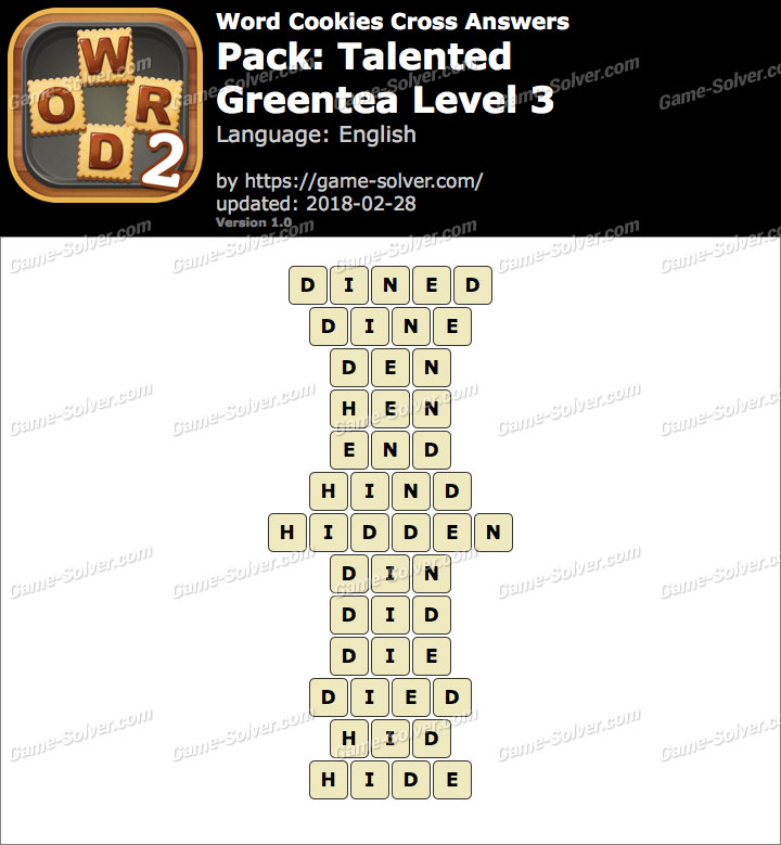 Word Cookies Cross Talented-Greentea Level 3 Answers