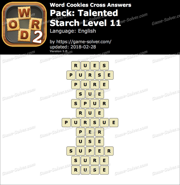 Word Cookies Cross Talented-Starch Level 11 Answers