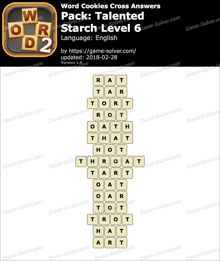 Word Cookies Cross Talented-Starch Level 6 Answers