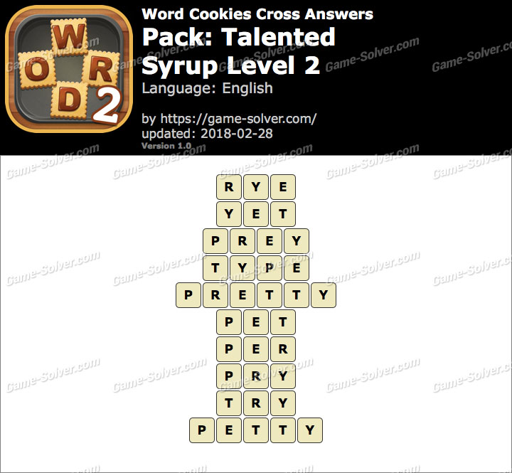 Word Cookies Cross Talented-Syrup Level 2 Answers