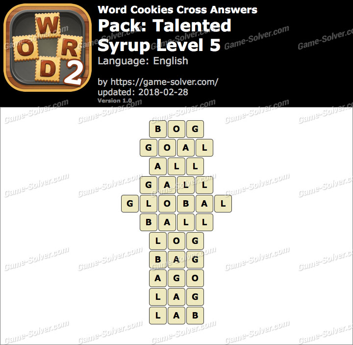 Word Cookies Cross Talented-Syrup Level 5 Answers