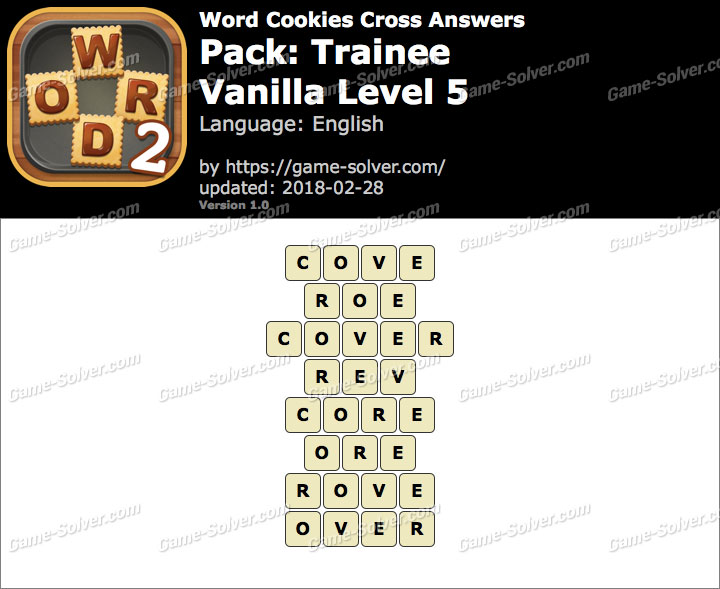 Word Cookies Cross Trainee-Vanilla Level 5 Answers