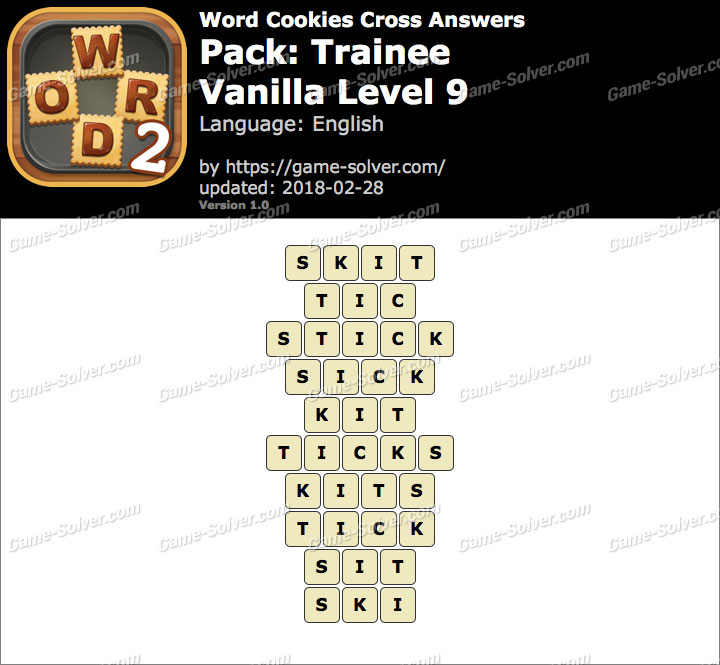 Word Cookies Cross Trainee-Vanilla Level 9 Answers