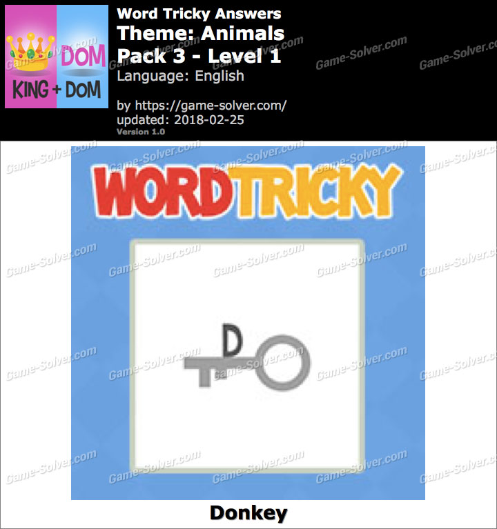 Word Tricky Animals Pack 3-Level 1 Answers