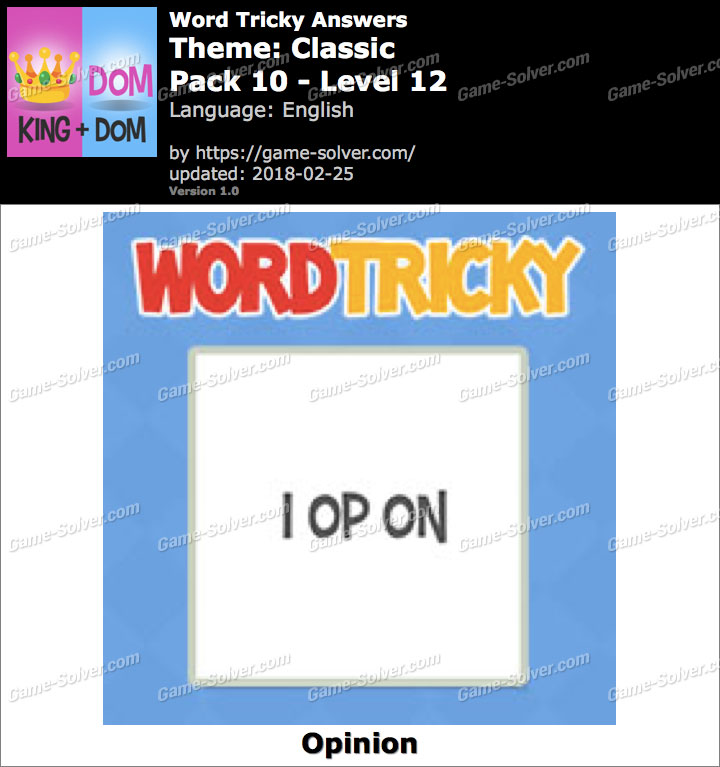 Word Tricky Classic Pack 10-Level 12 Answers