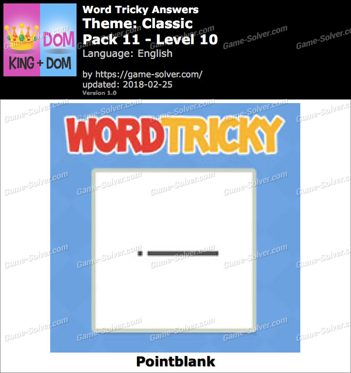 Word Tricky Classic Pack 11-Level 10 Answers