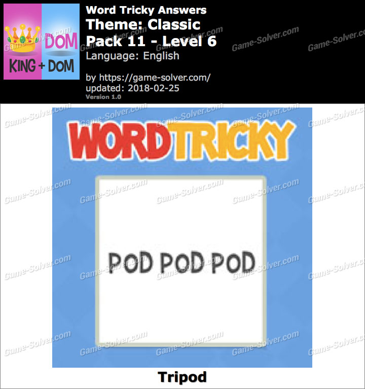 Word Tricky Classic Pack 11-Level 6 Answers