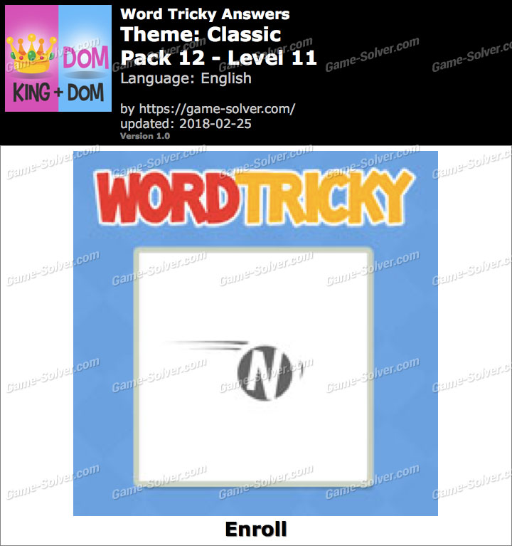 Word Tricky Classic Pack 12-Level 11 Answers