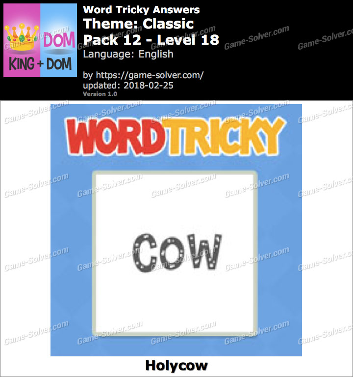 Word Tricky Classic Pack 12-Level 18 Answers