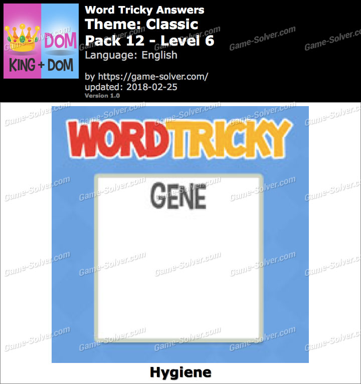 Word Tricky Classic Pack 12-Level 6 Answers