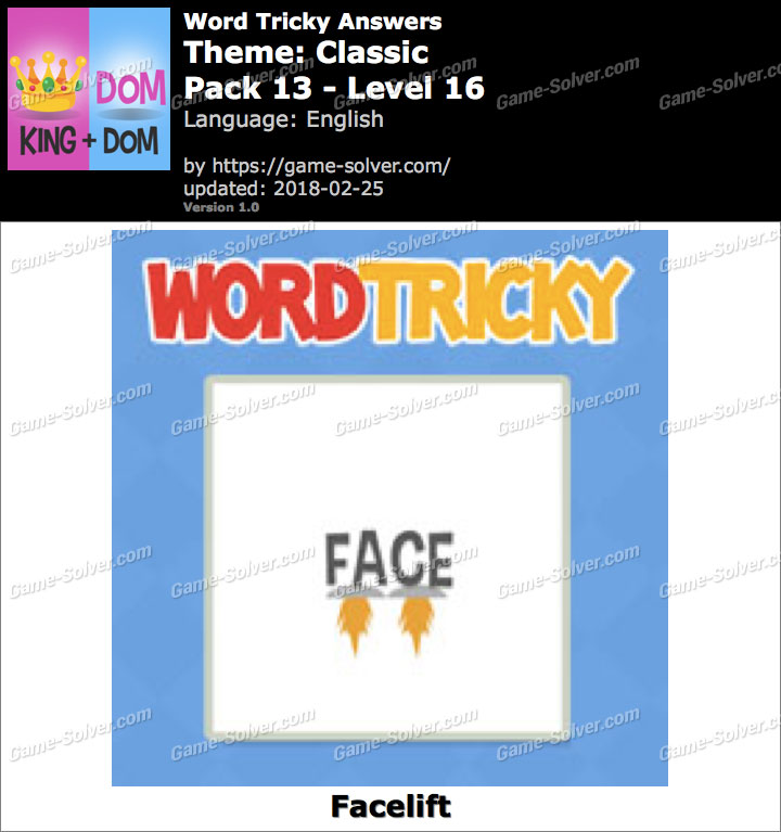 Word Tricky Classic Pack 13-Level 16 Answers