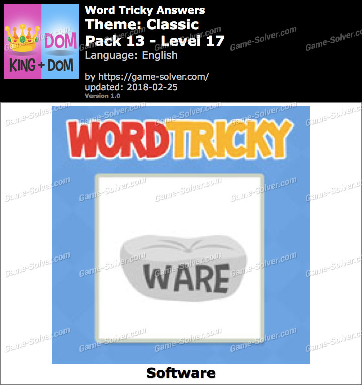 Word Tricky Classic Pack 13-Level 17 Answers