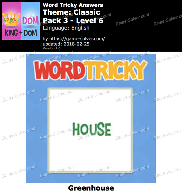 Word Tricky Classic Pack 3-Level 6 Answers