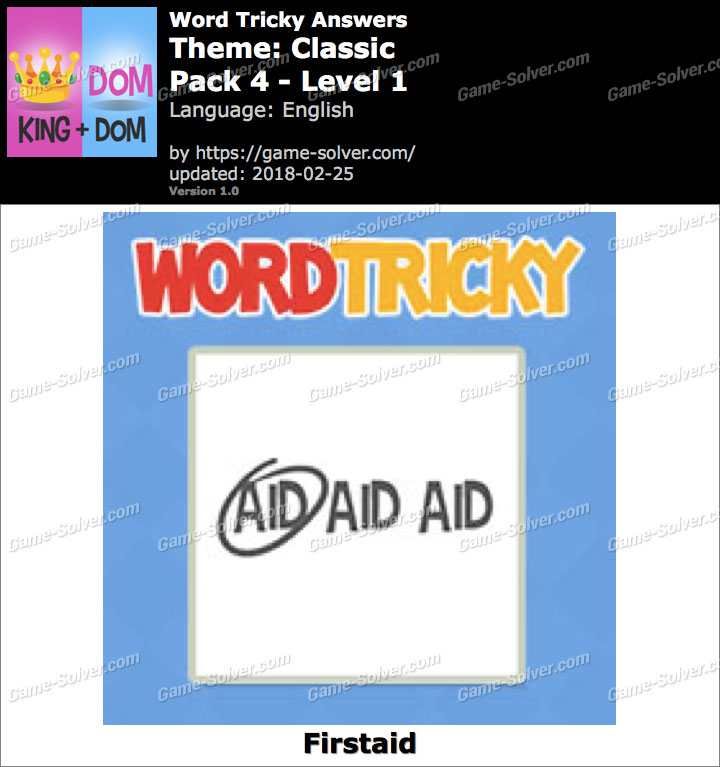 Word Tricky Classic Pack 4-Level 1 Answers