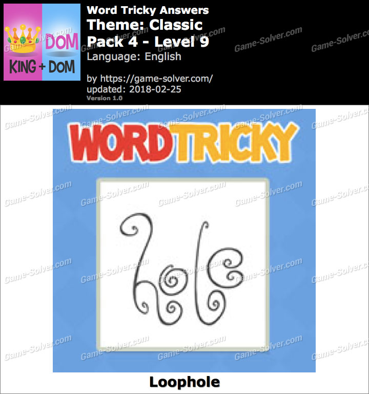 Word Tricky Classic Pack 4-Level 9 Answers