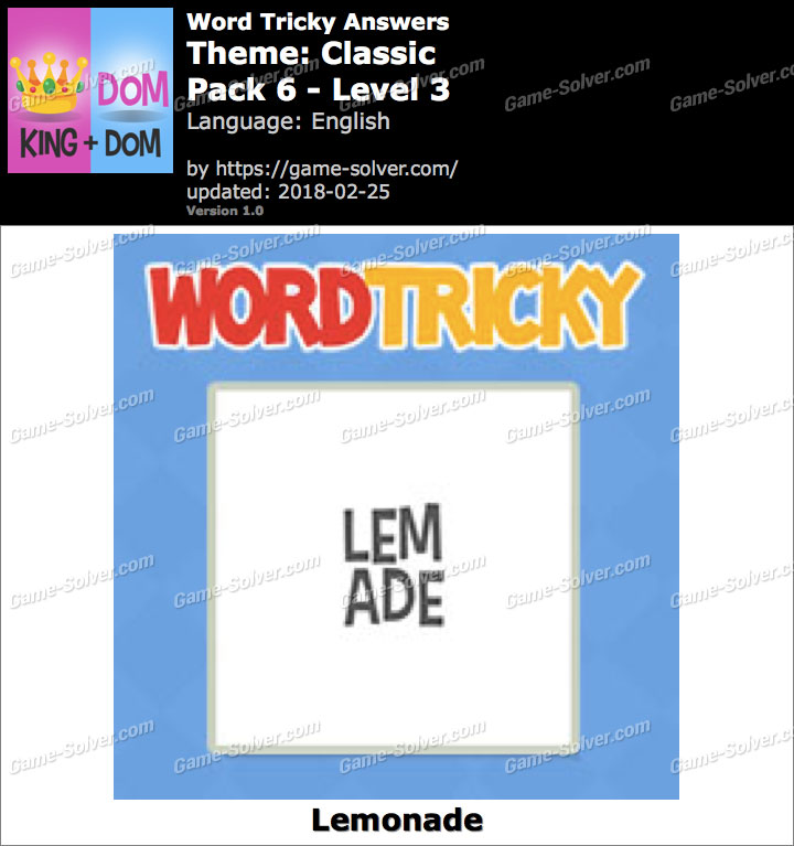 Word Tricky Classic Pack 6-Level 3 Answers