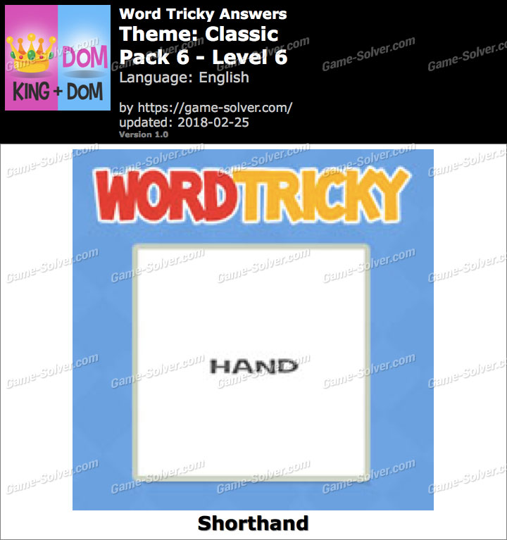 Word Tricky Classic Pack 6-Level 6 Answers