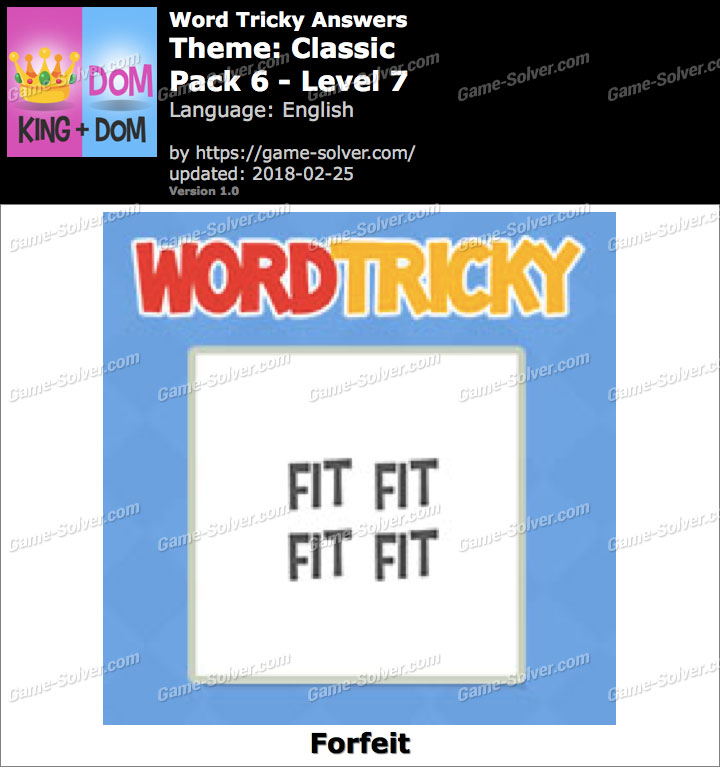 Word Tricky Classic Pack 6-Level 7 Answers