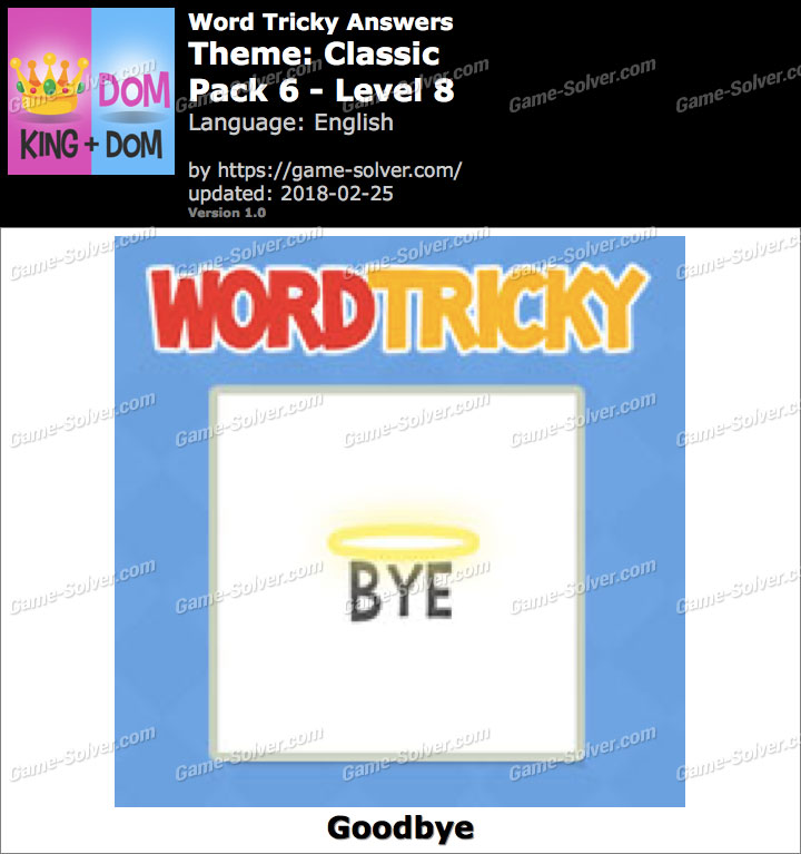 Word Tricky Classic Pack 6-Level 8 Answers