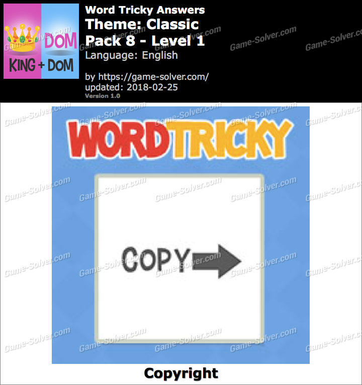 Word Tricky Classic Pack 8-Level 1 Answers