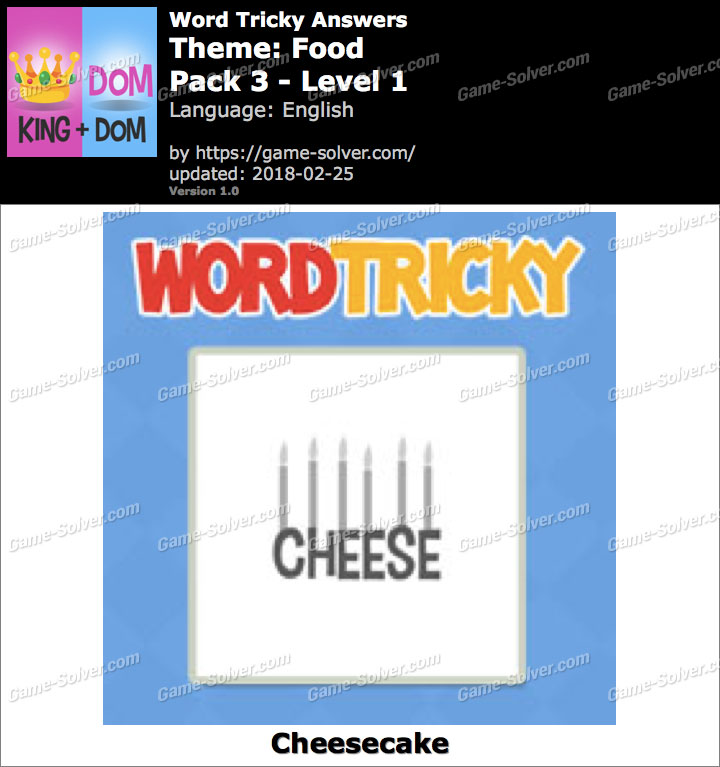 Word Tricky Food Pack 3-Level 1 Answers