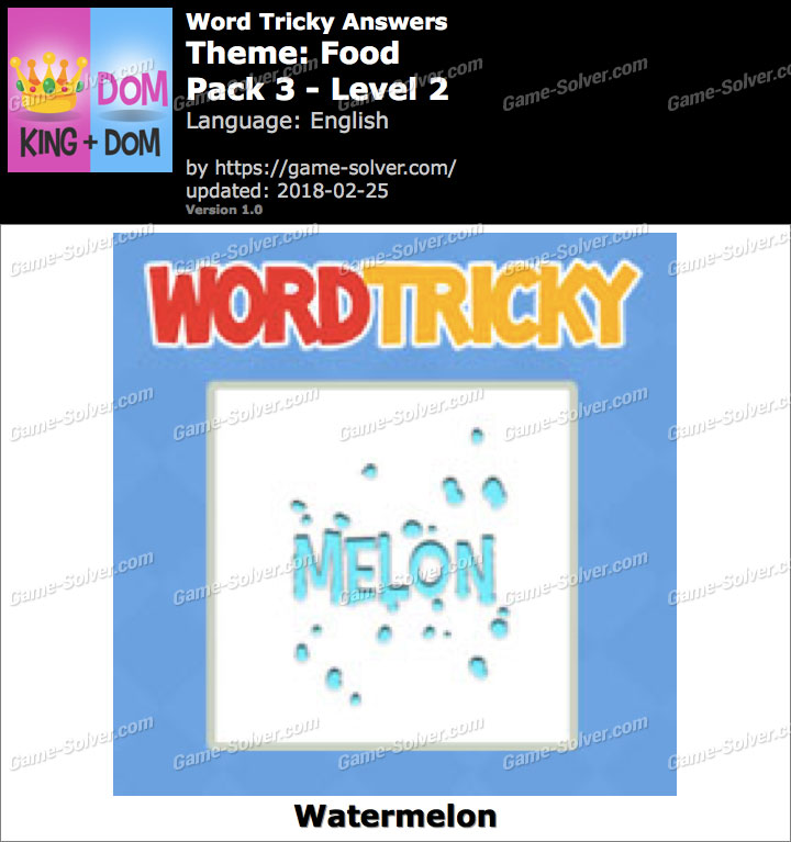 Word Tricky Food Pack 3-Level 2 Answers