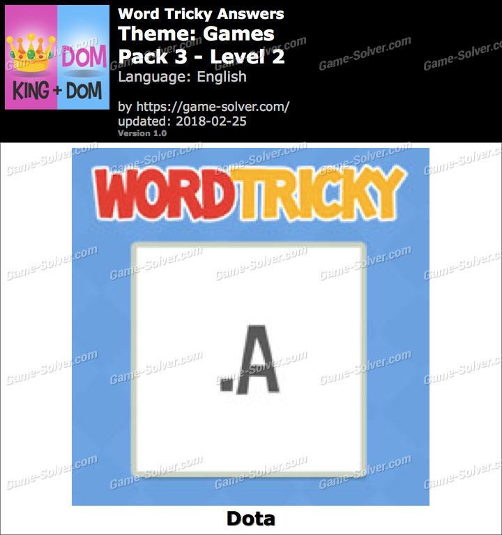 Word Tricky Games Pack 3-Level 2 Answers