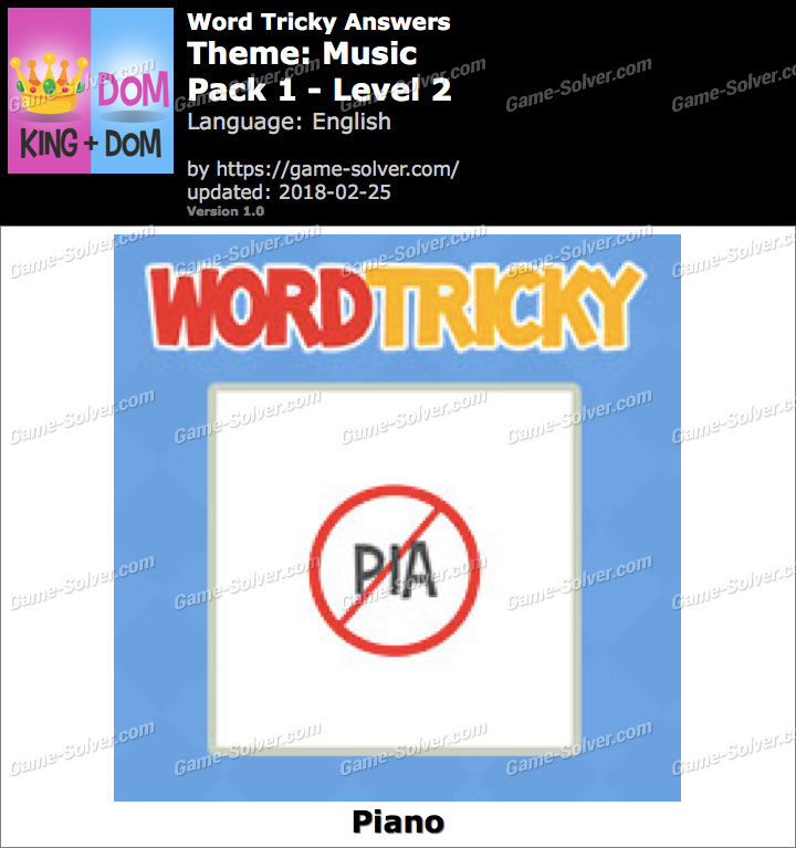 Word Tricky Music Pack 1-Level 2 Answers