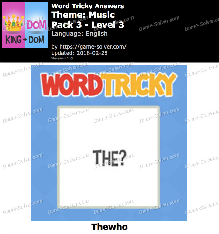 Word Tricky Music Pack 3-Level 3 Answers