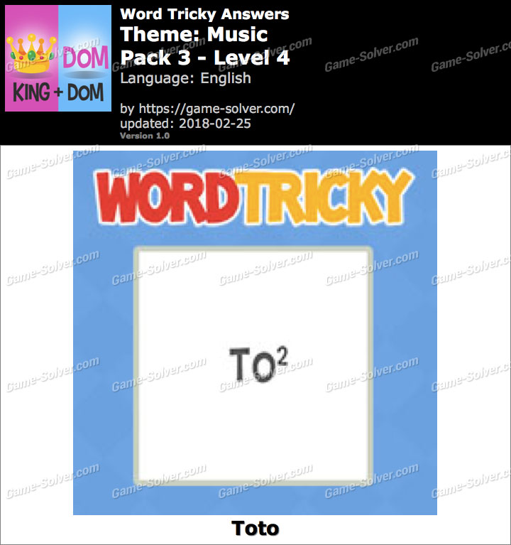 Word Tricky Music Pack 3-Level 4 Answers
