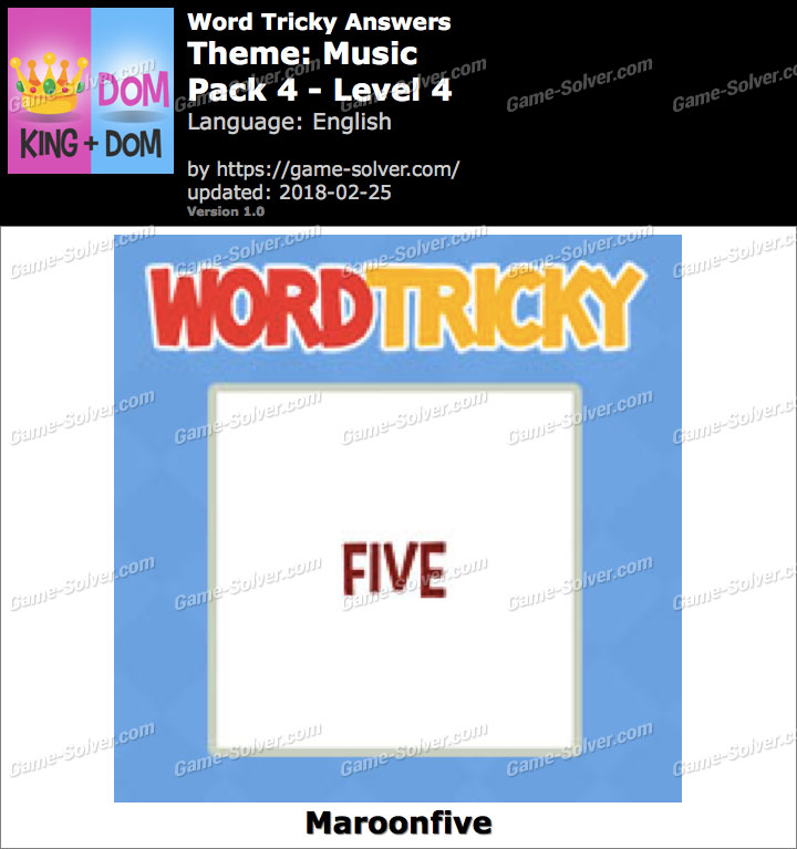 Word Tricky Music Pack 4-Level 4 Answers