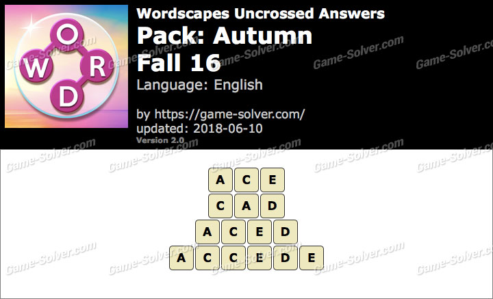 Wordscapes Uncrossed Autumn-Fall 16 Answers