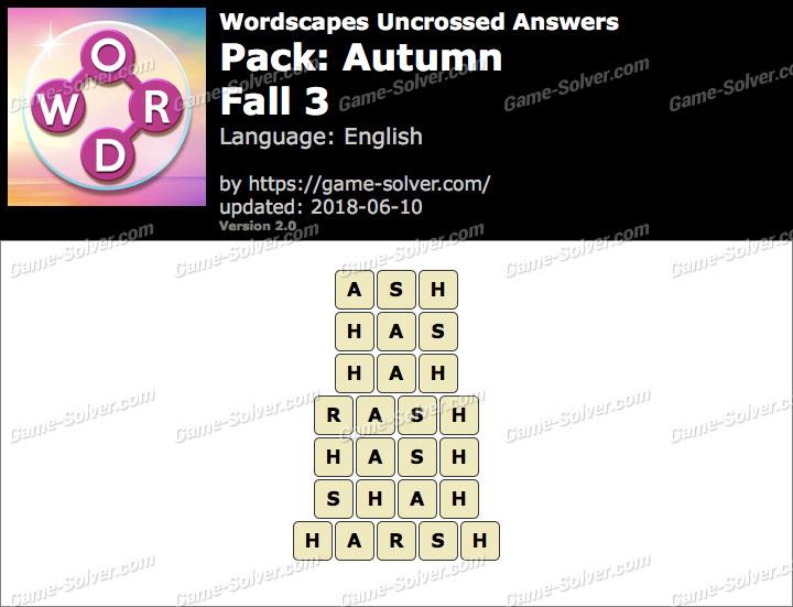 Wordscapes Uncrossed Autumn-Fall 3 Answers