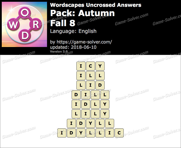 Wordscapes Uncrossed Autumn-Fall 8 Answers