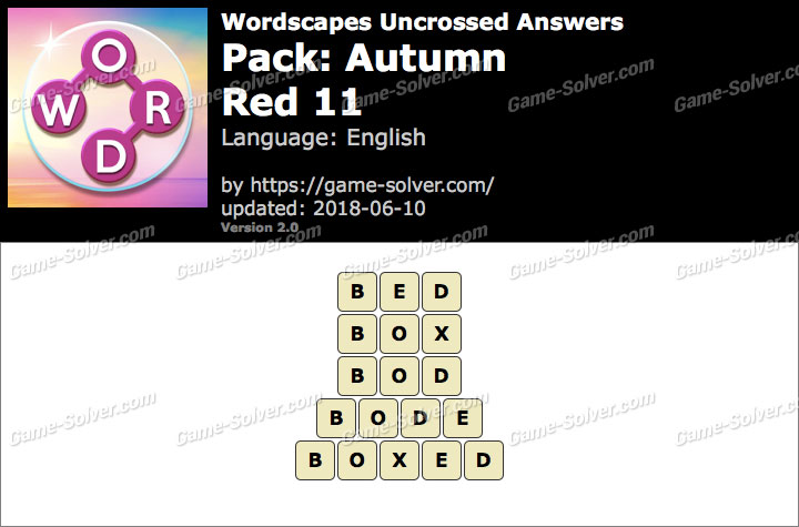 Wordscapes Uncrossed Autumn-Red 11 Answers