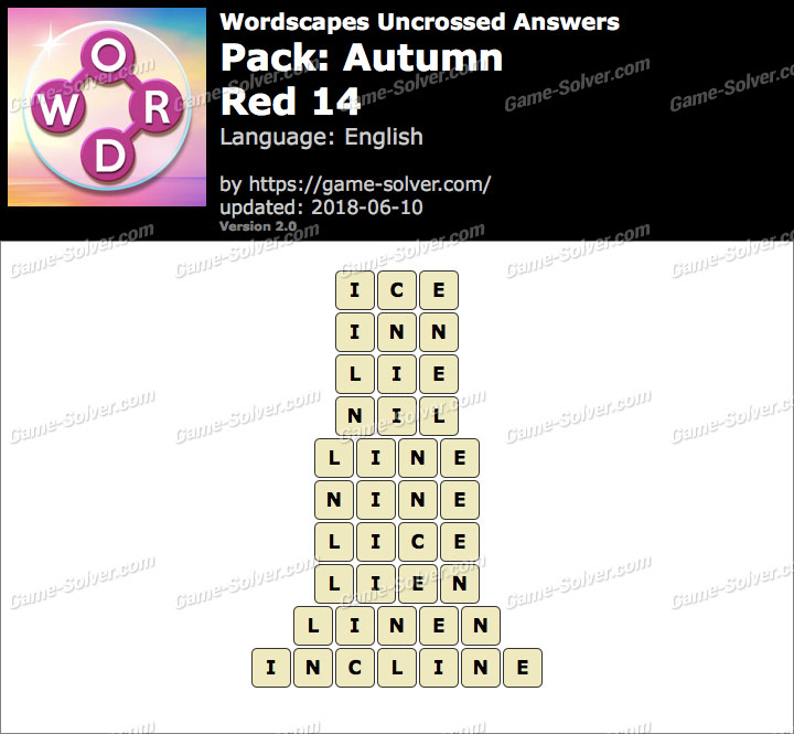 Wordscapes Uncrossed Autumn-Red 14 Answers