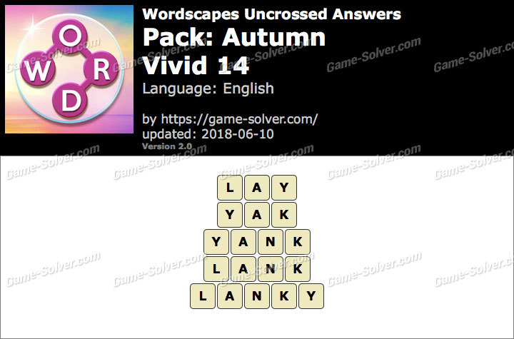 Wordscapes Uncrossed Autumn-Vivid 14 Answers