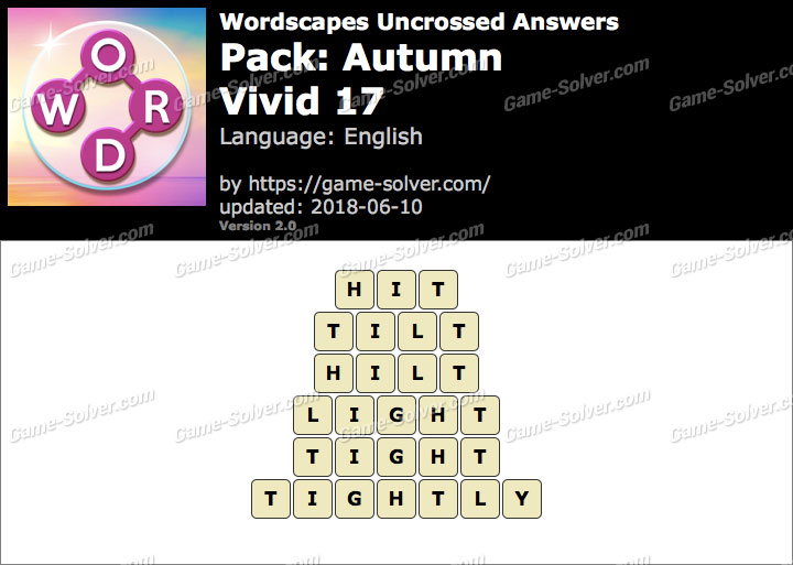Wordscapes Uncrossed Autumn-Vivid 17 Answers