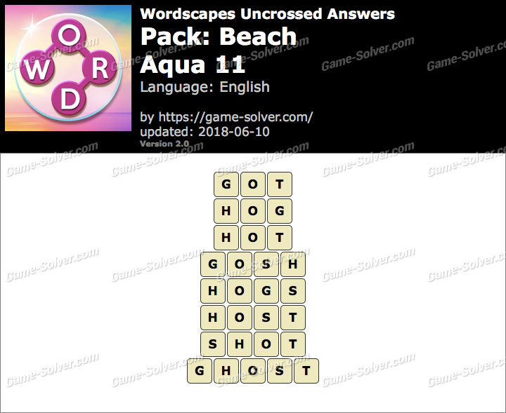 Wordscapes Uncrossed Beach-Aqua 11 Answers
