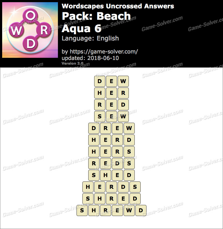 Wordscapes Uncrossed Beach-Aqua 6 Answers