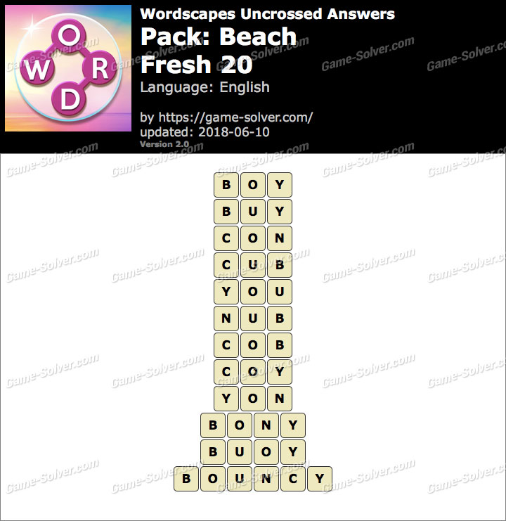 Wordscapes Uncrossed Beach-Fresh 20 Answers